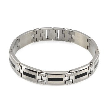 Stainless Steel Bracelet with Black Enamel