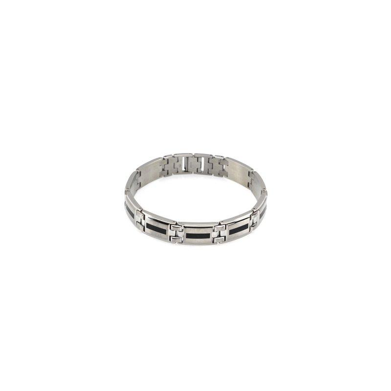 Holiday Ideas Stainless Steel Bracelet with Black Enamel
