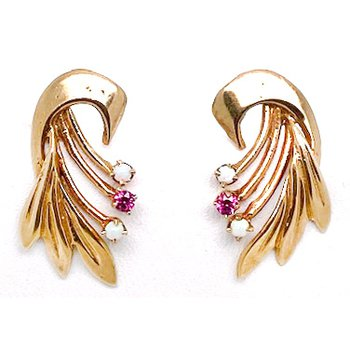 Lady's vintage Retro design, synthetic ruby, opal and yellow gold earrings with screw backs
