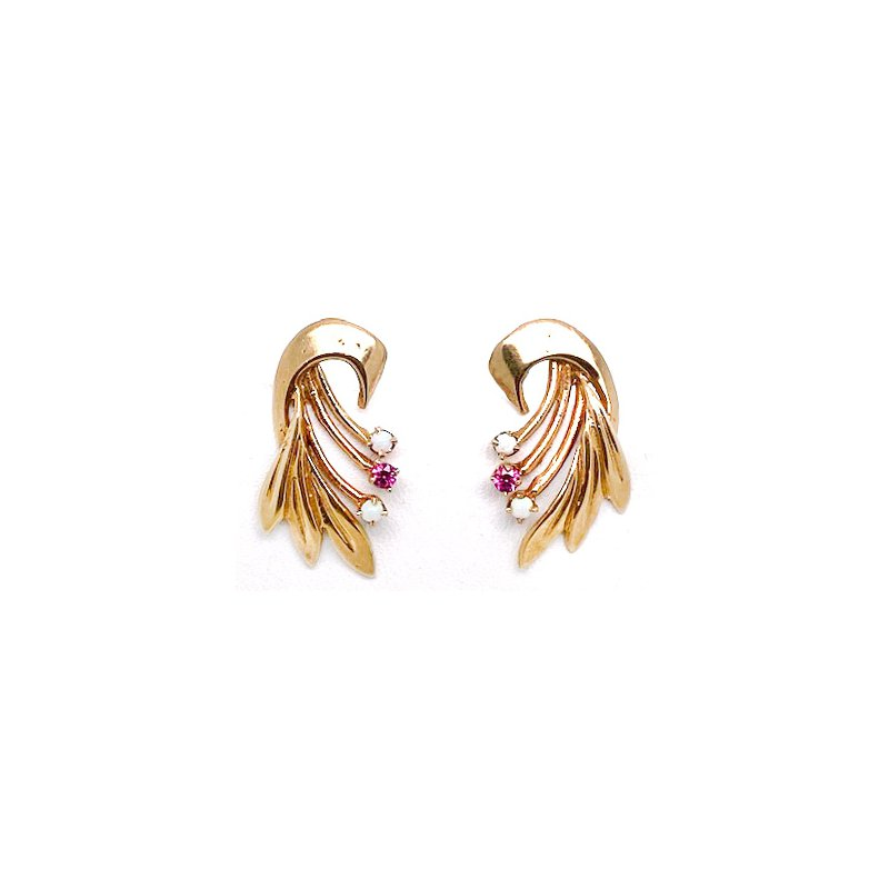 Estate & Vintage Lady's vintage Retro design, synthetic ruby, opal and yellow gold earrings with screw backs