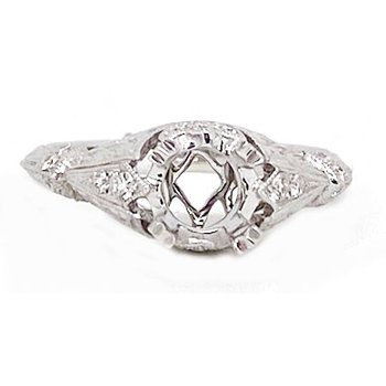 Diamond and White Gold, New, Vintage Style Mounting