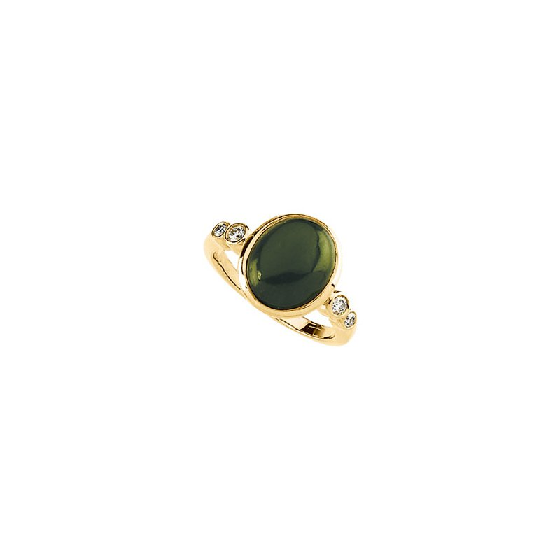 Ladies' Jewelry Genuine Jade & Diamond Ring