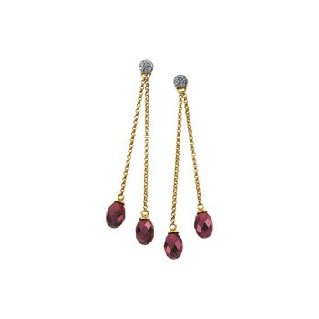 Genuine Brazilian Garnet Briolette & Diamond Earrings