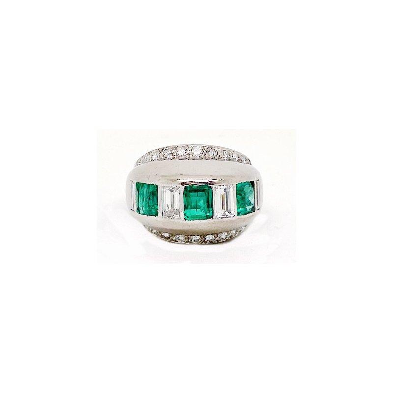 Estate & Vintage Lady's Art Deco design emerald, diamond and white gold ring