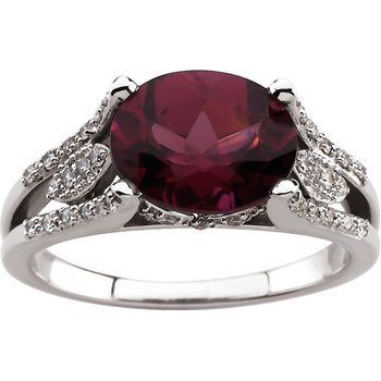 Genuine Rhodolite Garnet & Diamond Ring