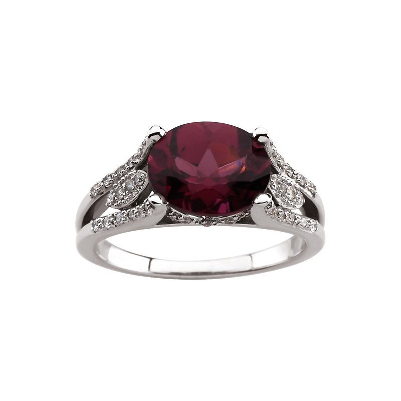 Ladies' Jewelry Genuine Rhodolite Garnet & Diamond Ring
