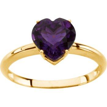 Genuine Amethyst Heart Ring