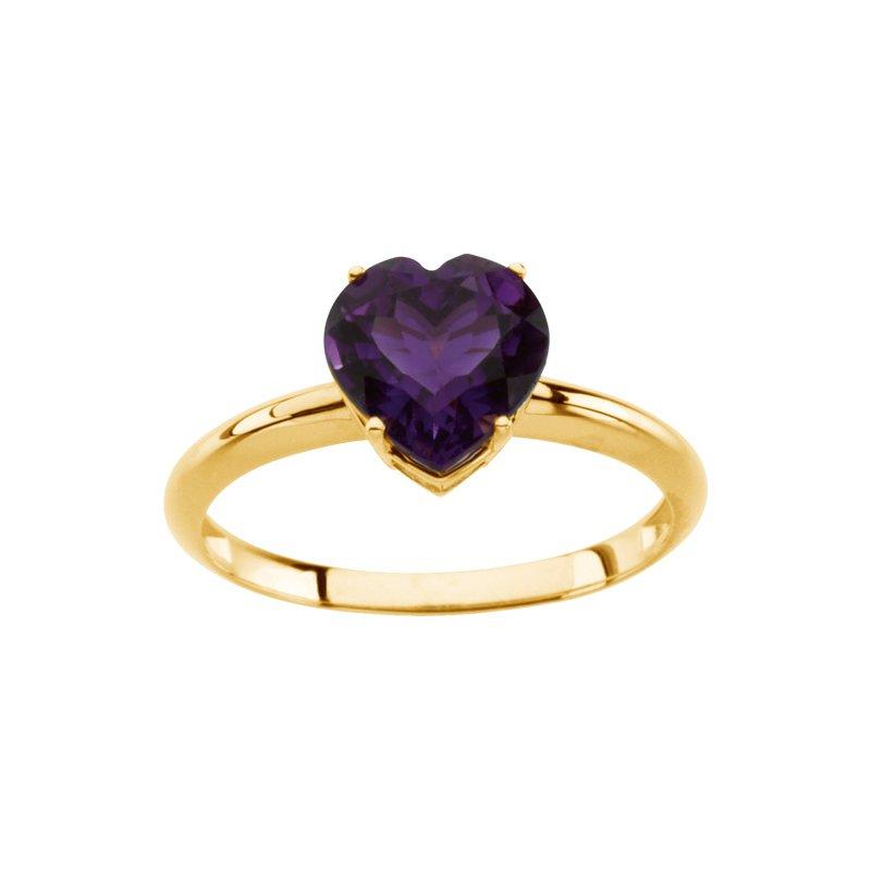 Ladies' Jewelry Genuine Amethyst Heart Ring