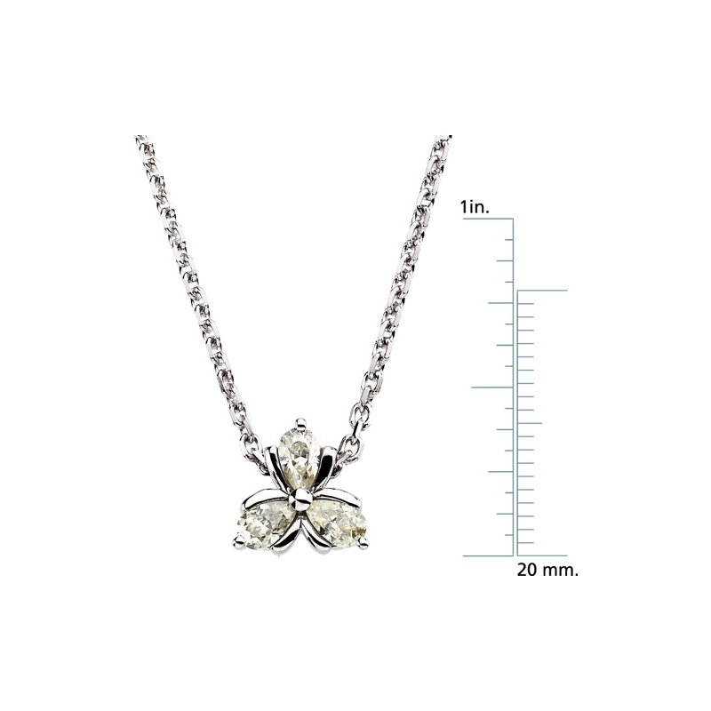 Ladies' Jewelry Moissanite 3-Stone Necklace On Diamond Cut Cable Chain