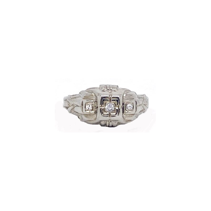 Vintage Bridal Diamond and White Gold, Art Deco Style Ring