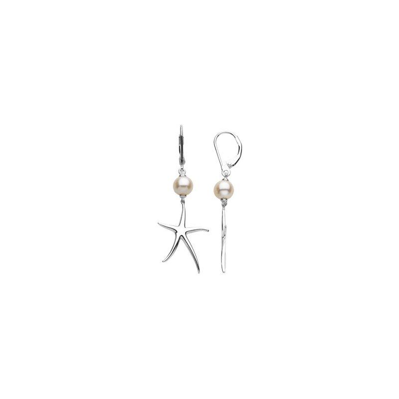 Ladies' Jewelry Cultured Pearl Starfish Earrings