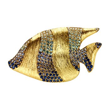 Genuine Multi Gem-stone & Diamond Sunfish Brooch Pendant