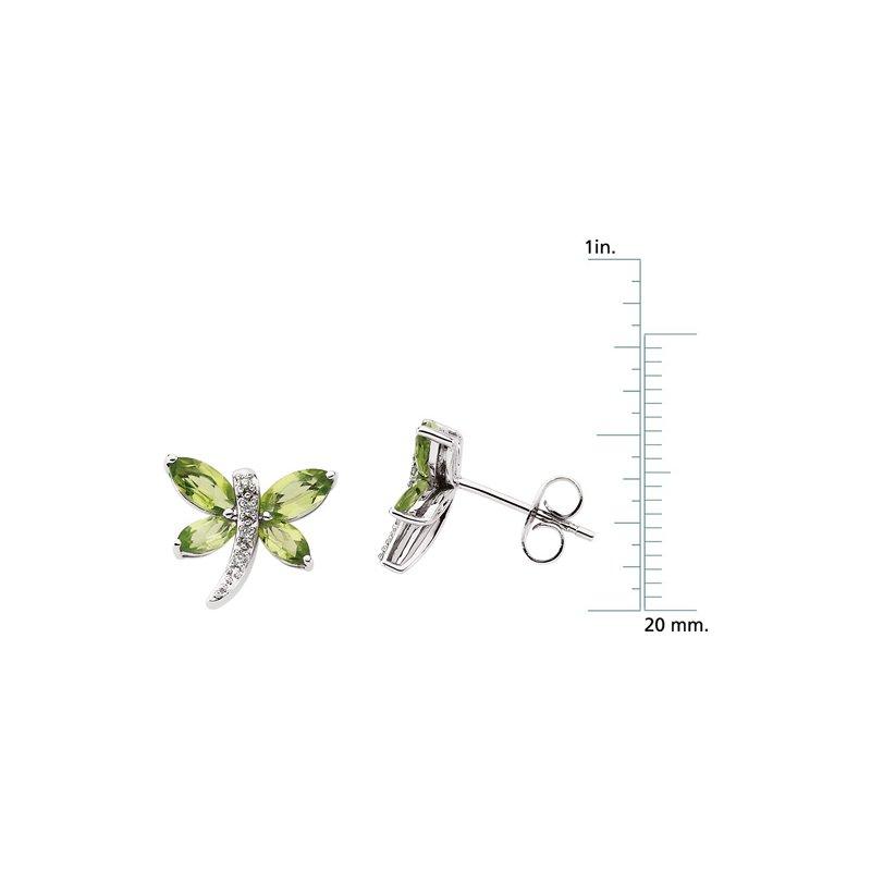 Ladies' Jewelry Genuine Peridot & Diamond Dragonfly Earrings
