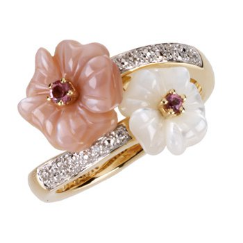 Genuine Pink Tourmaline, Mother Of Pearl & Diamond Ring