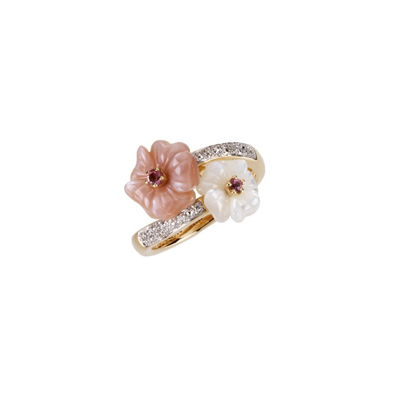 Holiday Ideas Genuine Pink Tourmaline, Mother Of Pearl & Diamond Ring