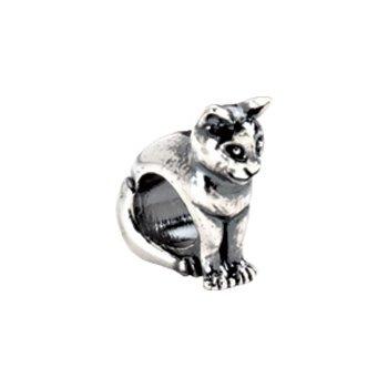 Kera Sterling Silver Cat Slider Bead