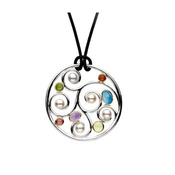 Freshwater Cultured Pearl & Multi-Gemstone Necklace