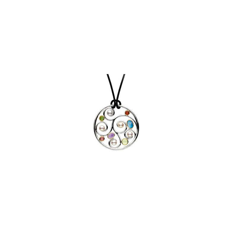 Ladies' Jewelry Freshwater Cultured Pearl & Multi-Gemstone Necklace
