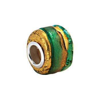 Kera Gold & Green Murano Glass Wheel Bead