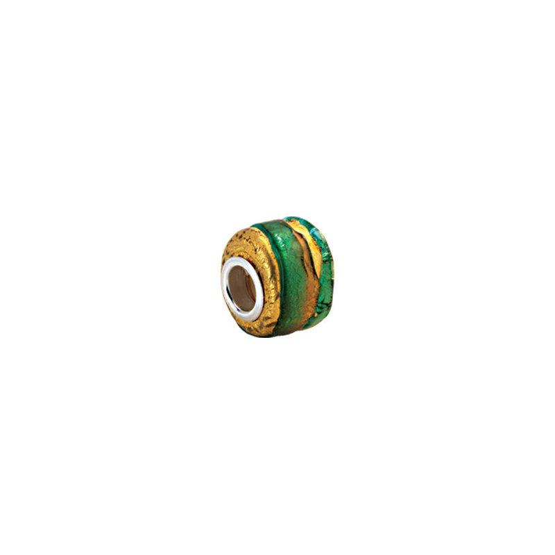 Holiday Ideas Kera Gold & Green Murano Glass Wheel Bead