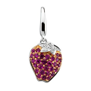 Genuine Pink Sapphire and Diamond Strawberry Charm