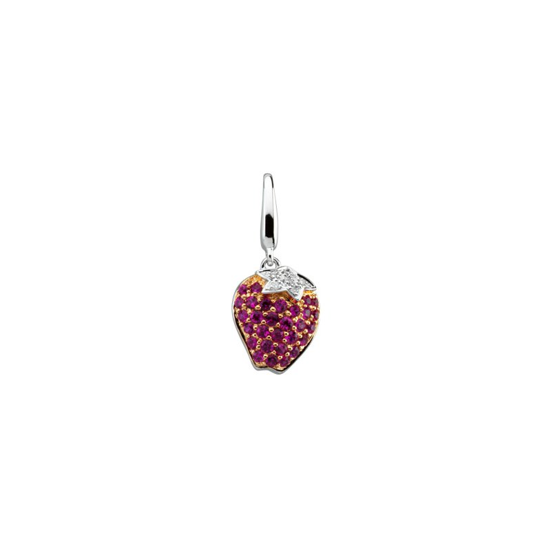 Holiday Ideas Genuine Pink Sapphire and Diamond Strawberry Charm