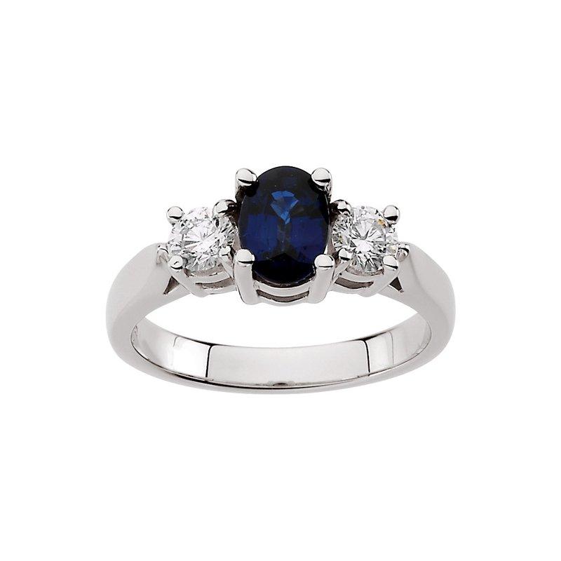 Ladies' Jewelry Genuine Sapphire & Diamond Ring