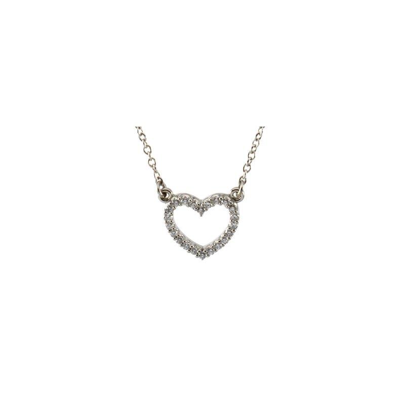 Ladies' Jewelry Platinum Diamond Heart Necklace