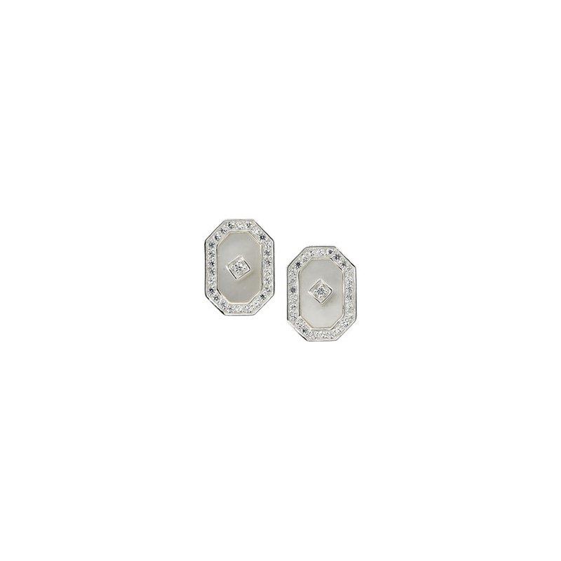 Ladies' Jewelry Genuine Mother of Pearl & Cubic Zirconia Earrings