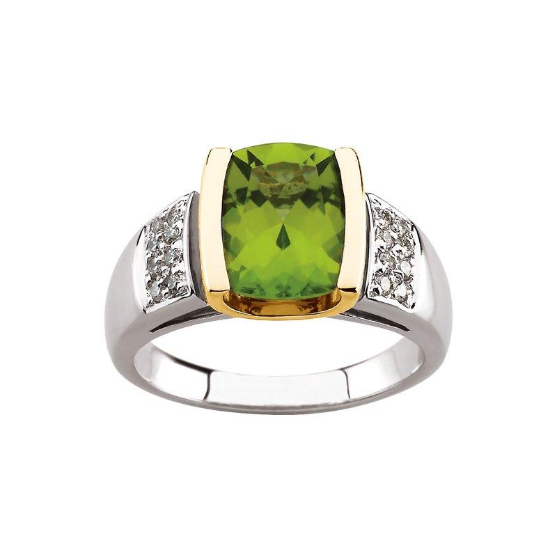 Ladies' Jewelry Genuine Peridot & Diamond Ring