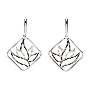 Genuine Black Spinel & Diamond Earrings
