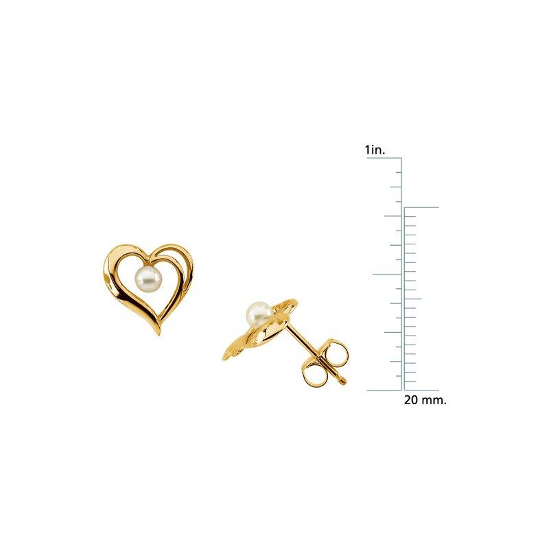 Ladies' Jewelry Akoya Cultured Pearl Heart Earrings