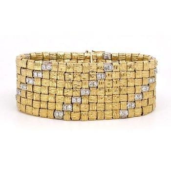 Vintage diamond, white and yellow gold wide mesh style bracelet