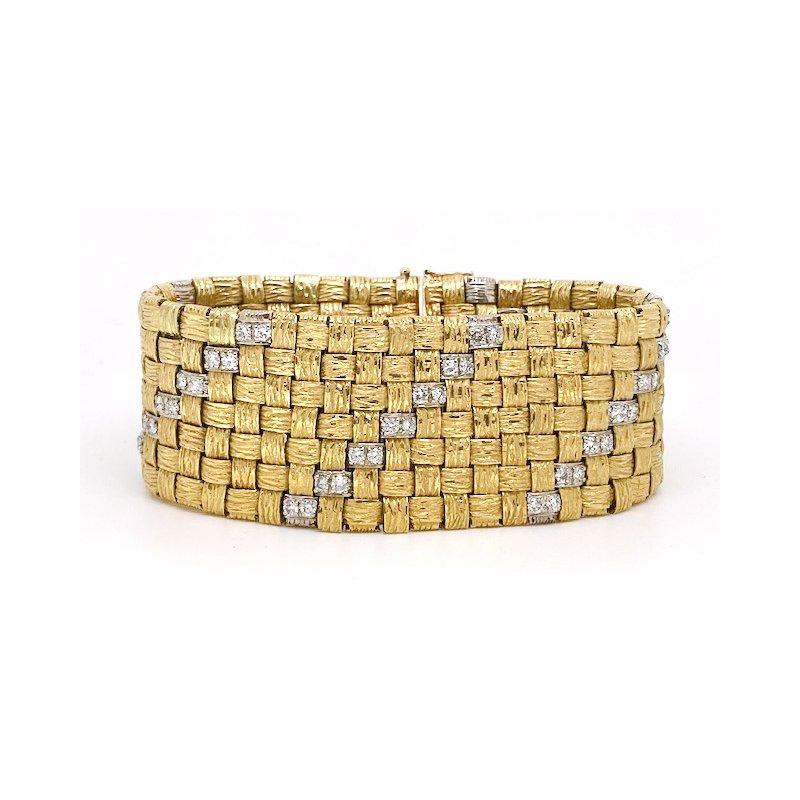 Estate & Vintage Vintage diamond, white and yellow gold wide mesh style bracelet