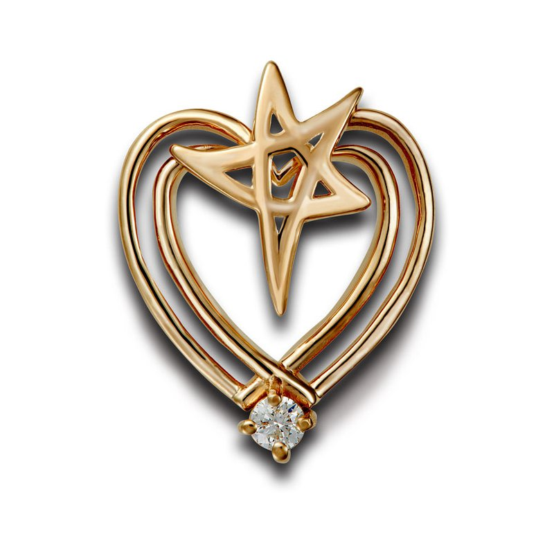 El Paso Star and Gifts Heartbeat of El Paso Collection: El Paso Star® and Heart 14K Gold Pendant