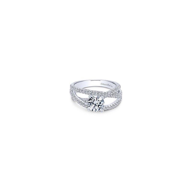 Gabriel Bridal 14K White Gold Round Free Form Diamond Engagement Ring
