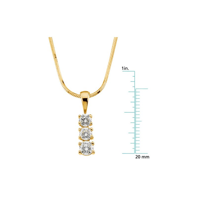 Ladies' Jewelry 3-Stone Diamond Fashion Necklace