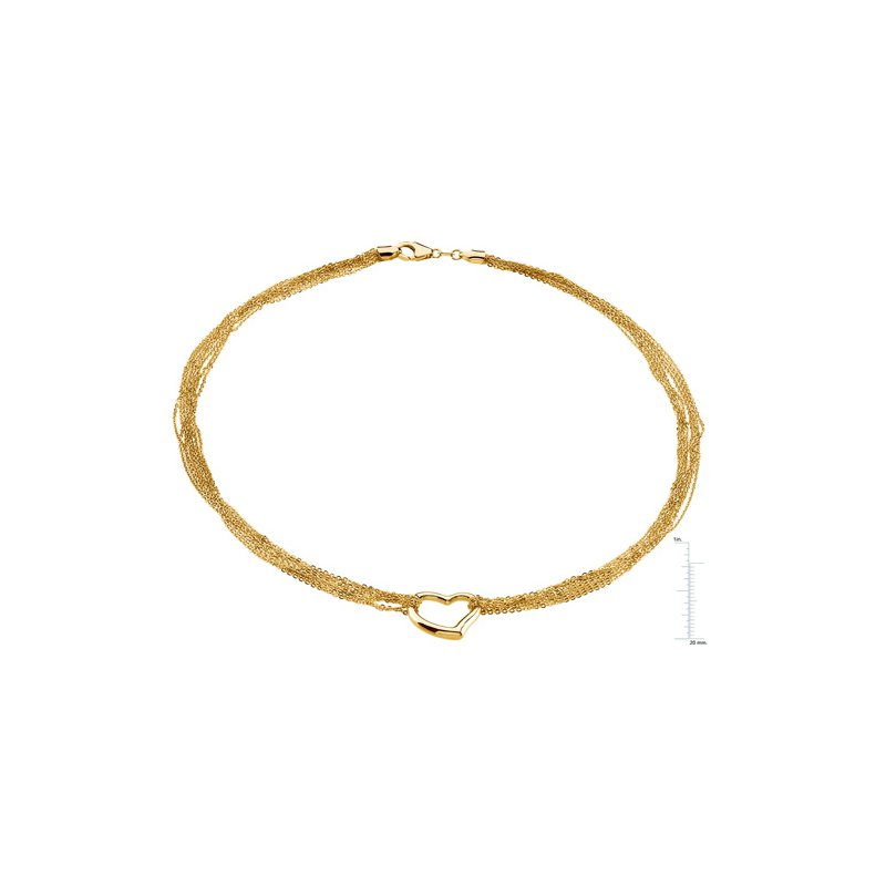 Ladies' Jewelry 8 Strand Rolo with Heart Chain
