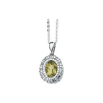 Genuine Peridot & Diamond Necklace