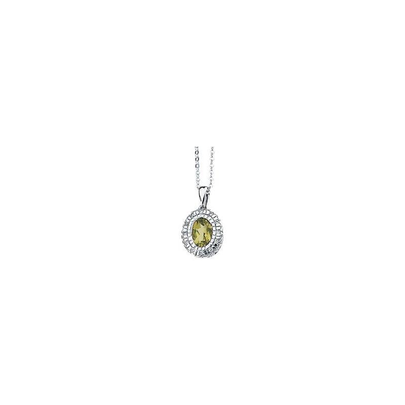 Ladies' Jewelry Genuine Peridot & Diamond Necklace