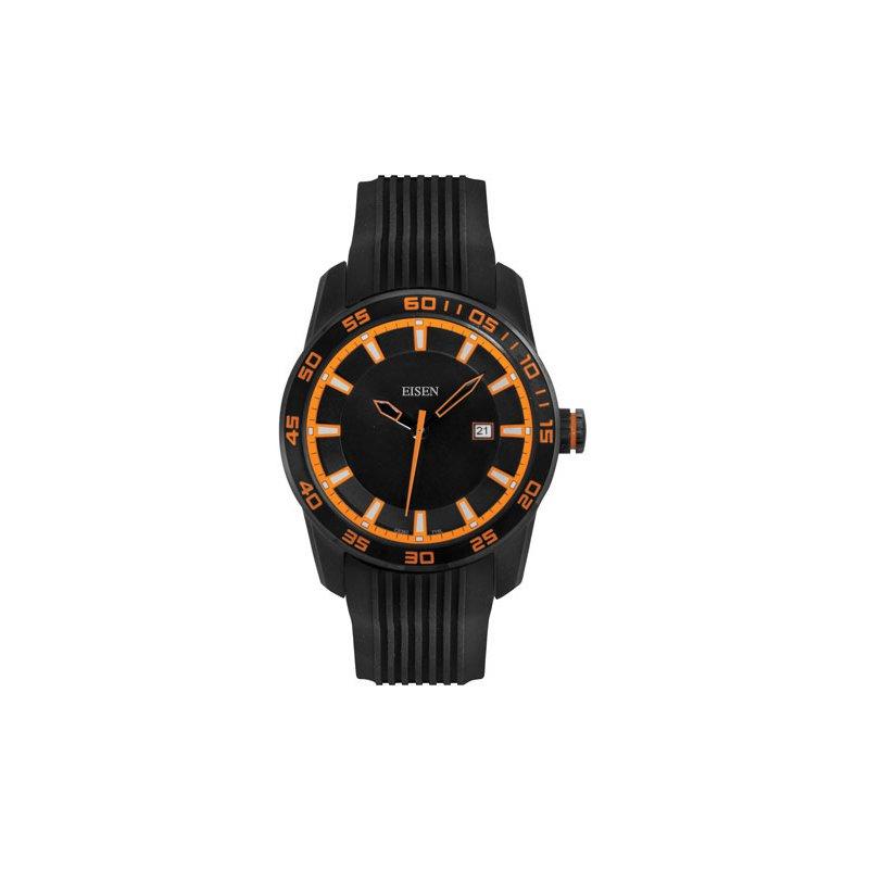 Eisen Watches Eisen Gent's Black & Orange Sports Quartz Wrist Watch