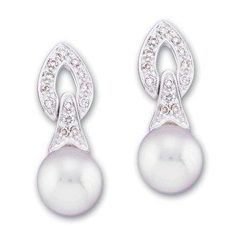 Freshwater Cultured Pearl & Diamond Earrings