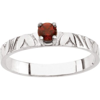 Children's Genuine Garnet January Birthstone Ring