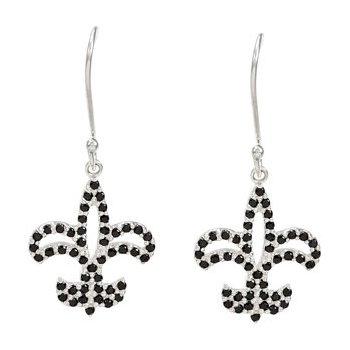 Genuine Black Spinel Fleur-de-Lis Earrings