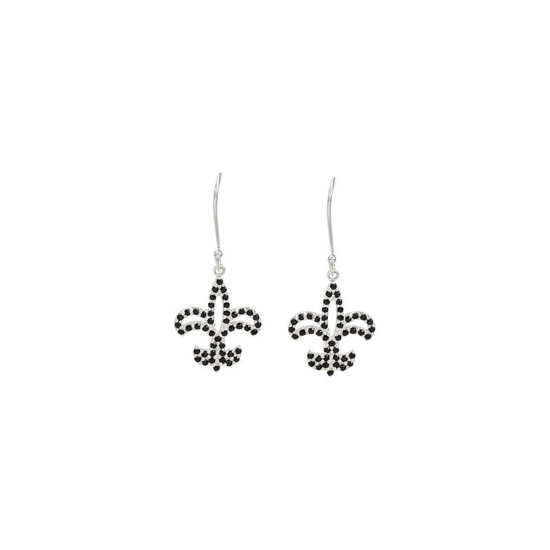 Holiday Ideas Genuine Black Spinel Fleur-de-Lis Earrings