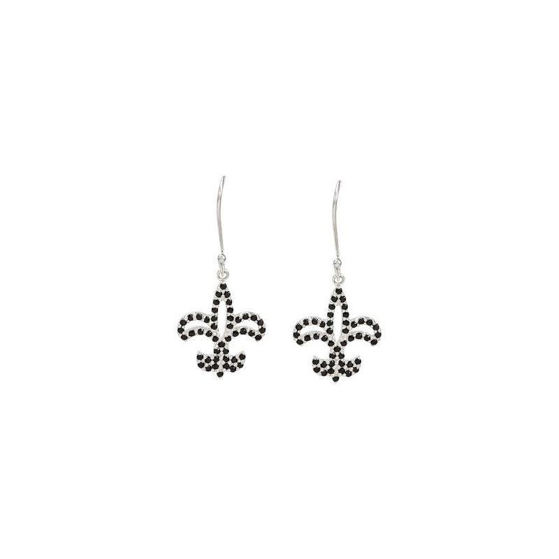 Holiday Ideas Genuine Black Spinel Fleur-de-Lis Earrings