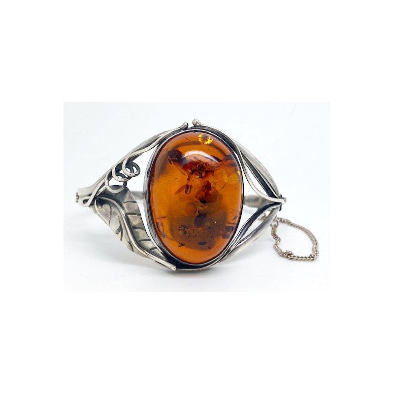 Vintage Silver Vintage Native American sterling silver and amber bracelet