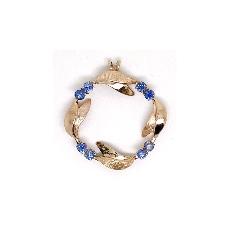 Estate & Vintage Vintage sapphire and yellow gold circle pendant