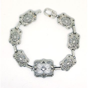 Lady's vintage Art Deco design white gold and diamond bracelet