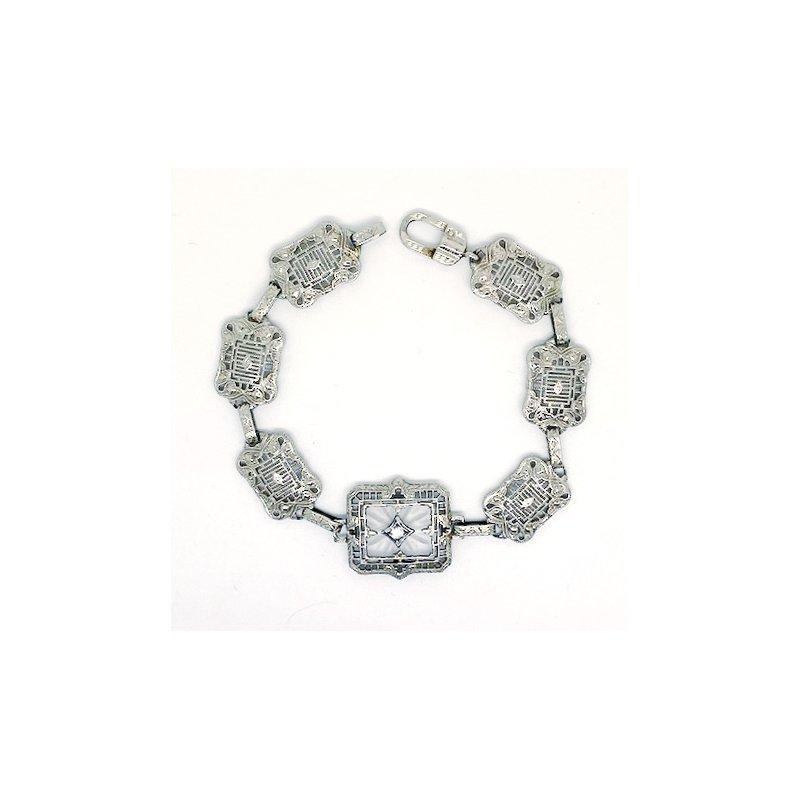 Estate & Vintage Lady's vintage Art Deco design white gold and diamond bracelet